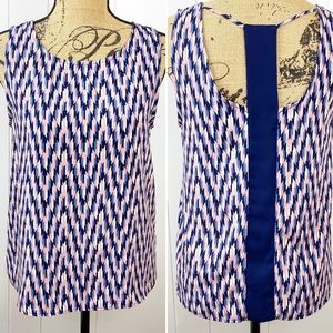 Papermoon for StitchFix Navy & Pink Woven Tank S